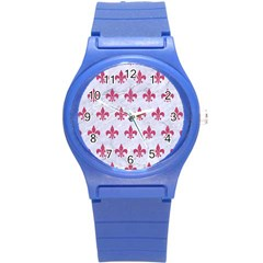 ROYAL1 WHITE MARBLE & PINK DENIM Round Plastic Sport Watch (S)
