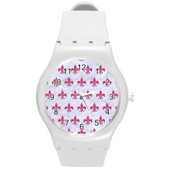 ROYAL1 WHITE MARBLE & PINK DENIM Round Plastic Sport Watch (M)