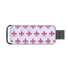 ROYAL1 WHITE MARBLE & PINK DENIM Portable USB Flash (One Side)