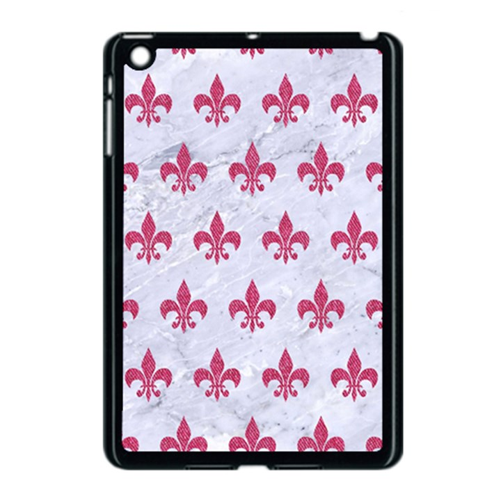 ROYAL1 WHITE MARBLE & PINK DENIM Apple iPad Mini Case (Black)