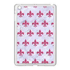 ROYAL1 WHITE MARBLE & PINK DENIM Apple iPad Mini Case (White)