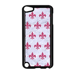 ROYAL1 WHITE MARBLE & PINK DENIM Apple iPod Touch 5 Case (Black)