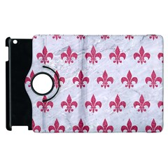 ROYAL1 WHITE MARBLE & PINK DENIM Apple iPad 2 Flip 360 Case