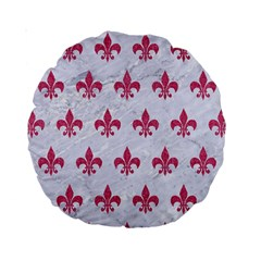 ROYAL1 WHITE MARBLE & PINK DENIM Standard 15  Premium Round Cushions