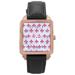 ROYAL1 WHITE MARBLE & PINK DENIM Rose Gold Leather Watch
