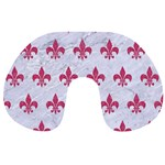 ROYAL1 WHITE MARBLE & PINK DENIM Travel Neck Pillows Front