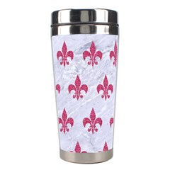 ROYAL1 WHITE MARBLE & PINK DENIM Stainless Steel Travel Tumblers
