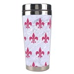 ROYAL1 WHITE MARBLE & PINK DENIM Stainless Steel Travel Tumblers Left