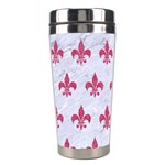 ROYAL1 WHITE MARBLE & PINK DENIM Stainless Steel Travel Tumblers Center