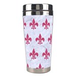 ROYAL1 WHITE MARBLE & PINK DENIM Stainless Steel Travel Tumblers Right