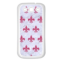 Royal1 White Marble & Pink Denim Samsung Galaxy S3 Back Case (white) by trendistuff