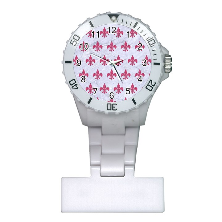 ROYAL1 WHITE MARBLE & PINK DENIM Plastic Nurses Watch