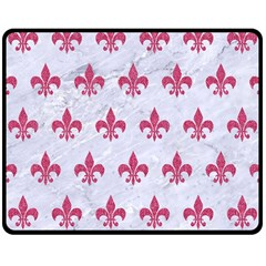 ROYAL1 WHITE MARBLE & PINK DENIM Double Sided Fleece Blanket (Medium)