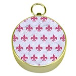 ROYAL1 WHITE MARBLE & PINK DENIM Gold Compasses Front