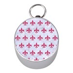 ROYAL1 WHITE MARBLE & PINK DENIM Mini Silver Compasses Front