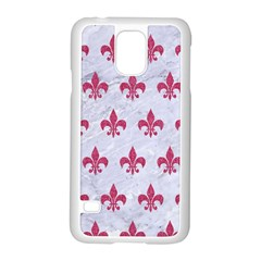 ROYAL1 WHITE MARBLE & PINK DENIM Samsung Galaxy S5 Case (White)