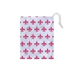 ROYAL1 WHITE MARBLE & PINK DENIM Drawstring Pouches (Small)  Front
