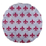 ROYAL1 WHITE MARBLE & PINK DENIM Large 18  Premium Flano Round Cushions Back