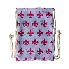 ROYAL1 WHITE MARBLE & PINK DENIM Drawstring Bag (Small)