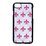 ROYAL1 WHITE MARBLE & PINK DENIM Apple iPhone 8 Seamless Case (Black) Front