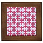 PUZZLE1 WHITE MARBLE & PINK DENIM Framed Tiles Front
