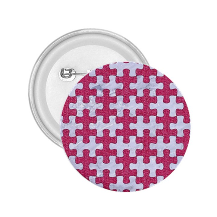 PUZZLE1 WHITE MARBLE & PINK DENIM 2.25  Buttons