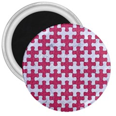 Puzzle1 White Marble & Pink Denim 3  Magnets