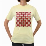 PUZZLE1 WHITE MARBLE & PINK DENIM Women s Yellow T-Shirt Front