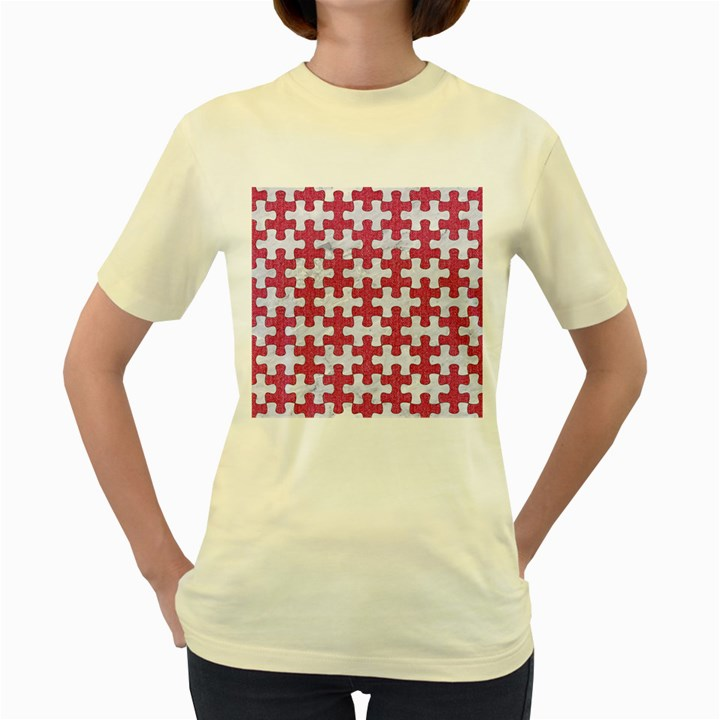 PUZZLE1 WHITE MARBLE & PINK DENIM Women s Yellow T-Shirt