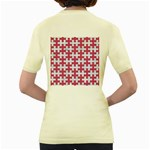 PUZZLE1 WHITE MARBLE & PINK DENIM Women s Yellow T-Shirt Back