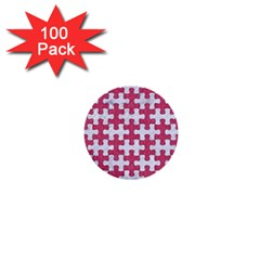 Puzzle1 White Marble & Pink Denim 1  Mini Buttons (100 Pack)