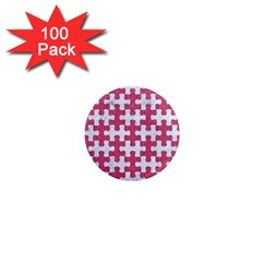 Puzzle1 White Marble & Pink Denim 1  Mini Magnets (100 Pack)