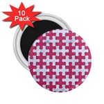 PUZZLE1 WHITE MARBLE & PINK DENIM 2.25  Magnets (10 pack)  Front