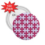PUZZLE1 WHITE MARBLE & PINK DENIM 2.25  Buttons (100 pack)  Front
