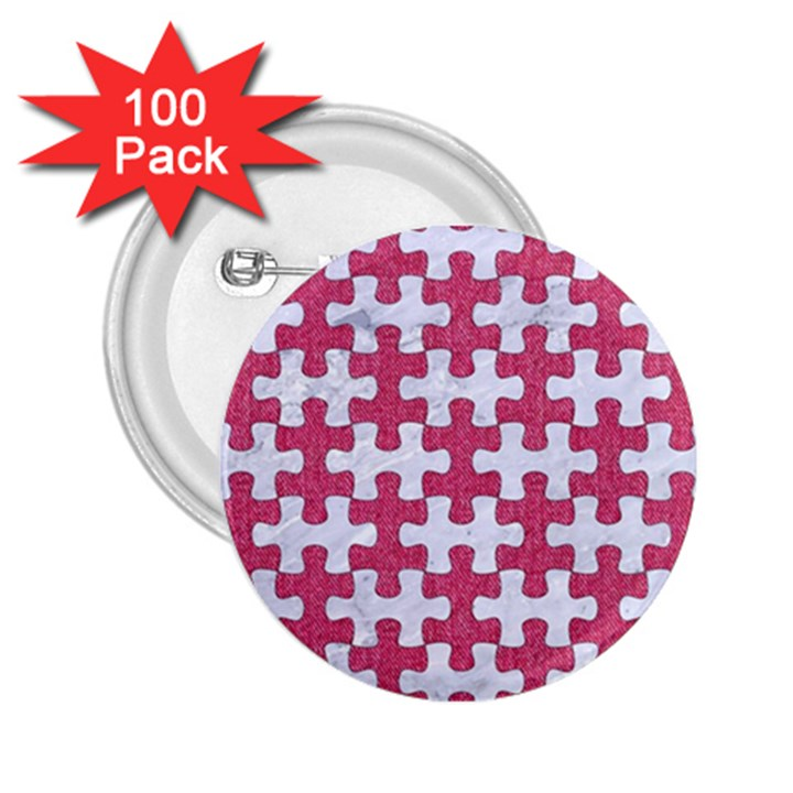 PUZZLE1 WHITE MARBLE & PINK DENIM 2.25  Buttons (100 pack)