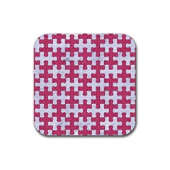 Puzzle1 White Marble & Pink Denim Rubber Coaster (square)  by trendistuff