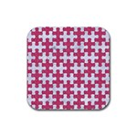 PUZZLE1 WHITE MARBLE & PINK DENIM Rubber Coaster (Square)  Front