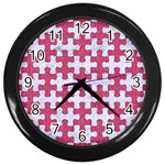 PUZZLE1 WHITE MARBLE & PINK DENIM Wall Clocks (Black) Front