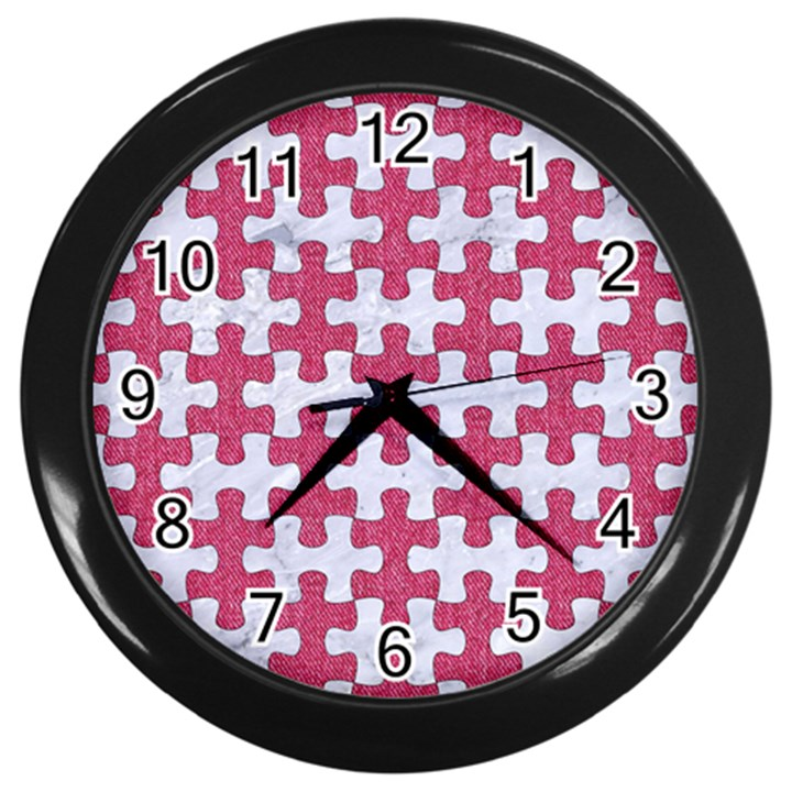 PUZZLE1 WHITE MARBLE & PINK DENIM Wall Clocks (Black)