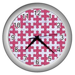Puzzle1 White Marble & Pink Denim Wall Clocks (silver)