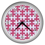 PUZZLE1 WHITE MARBLE & PINK DENIM Wall Clocks (Silver)  Front