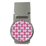 PUZZLE1 WHITE MARBLE & PINK DENIM Money Clips (Round)  Front