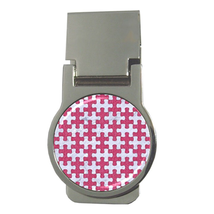 PUZZLE1 WHITE MARBLE & PINK DENIM Money Clips (Round)
