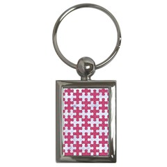 Puzzle1 White Marble & Pink Denim Key Chains (rectangle)