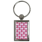 PUZZLE1 WHITE MARBLE & PINK DENIM Key Chains (Rectangle)  Front