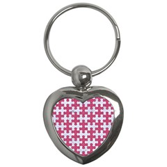 Puzzle1 White Marble & Pink Denim Key Chains (heart)