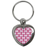 PUZZLE1 WHITE MARBLE & PINK DENIM Key Chains (Heart)  Front