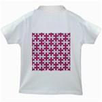 PUZZLE1 WHITE MARBLE & PINK DENIM Kids White T-Shirts Back