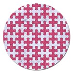 PUZZLE1 WHITE MARBLE & PINK DENIM Magnet 5  (Round) Front
