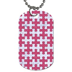 Puzzle1 White Marble & Pink Denim Dog Tag (one Side)